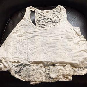 Cute cream, lace crop top